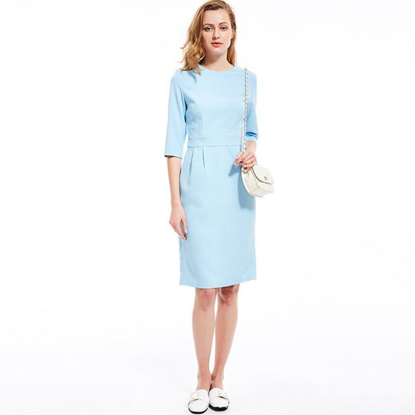 Donna Midi Vintage Vintage Office Lady Preppy elegante cerniera dritto solido estate 2019 moda femminile retrò abito caldo