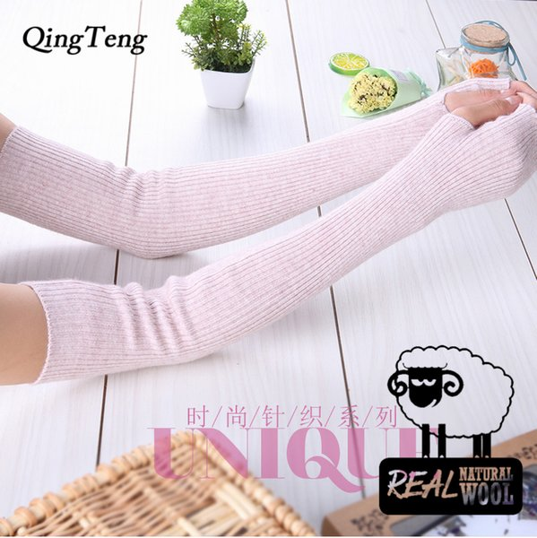 Mittens For Women Long Knitted Cashmere Red Without Finger Candy Colour Warm Touch Screen Gloves Women Smartphone Wool Black