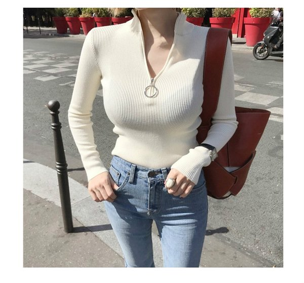 Women's Knits & Tees 2019 New Elegant Slim Sweater Tight Zip Top Shirt Simple Solid Color Blouse 2 Style