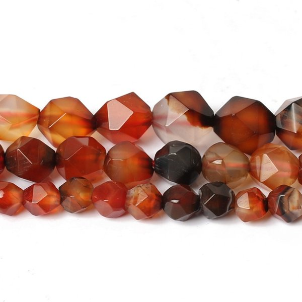 6/8/10 mm Naturel Facettes Multicolor Bande pierre rouge Perles rondes Perles pour bijoux Bracelet Faire Necklace15 pouces