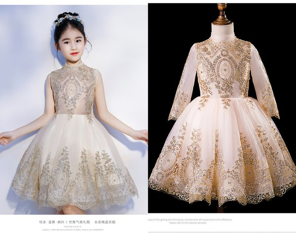 Bling 2019 Gold Lace Applique Short Flower Girls Dresses For Wedding Party Toddler Little Girls Long Sleeves Sequins First Communion Dress