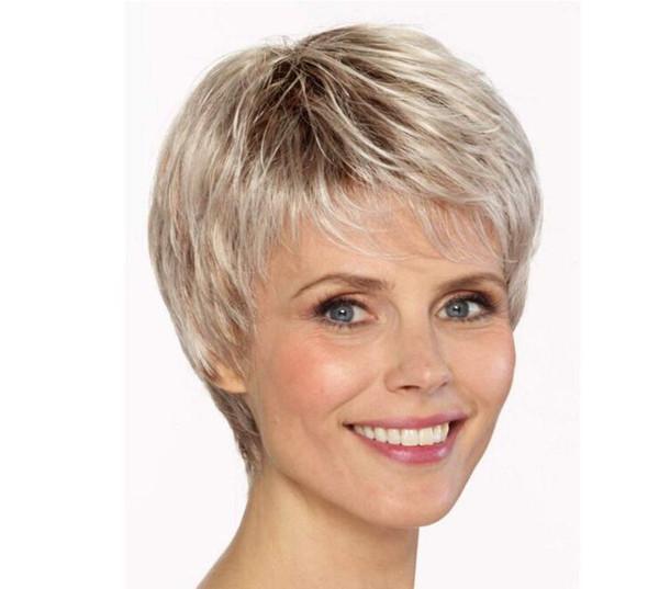 Парик среднего и пожилого возраста женщин с короткими вьющимися волосами цвета шампанского градиент цвета парик с коротким пушистым покрытием волос