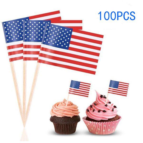 100pack US American Flag Pick Mini Fruit Toothpick Paper Flag Picks Cake Toothpicks Cupcake Party Christmas Decoration