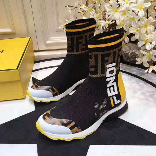 2019 Femmes À Tricoter Sexy Chaussette Bottes Vitesse Trainer Casual Chaussures Soirée Botte Haute Bottines Bottes de Travail Bottes Avec haute qualité 35-45