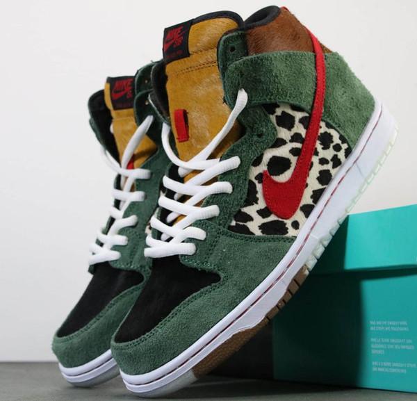 2019 Aair 1 JORDAN 1s Arrive SB Dunk High Dog Walker Chaussures De Basketball Haute Qualité Pour Hommes Noir Vert Formateurs Designer Marque Sport