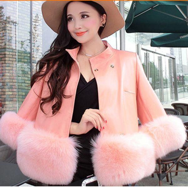 2019 Style Winter Women Leather Jackets Elegant Slim Short Design Female Elegant Luxury Noble Faux  Fur Jackets Coat V653