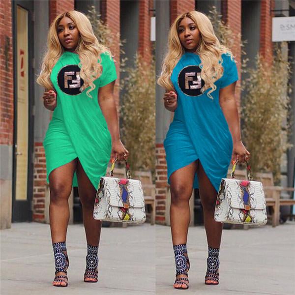 Summer Women Sequins F Letters Dress Irregular Slit Sweatshirts Skirts Knee Length Ruffle Dressess Loose T-Shirt Dresses Party Wear C42408