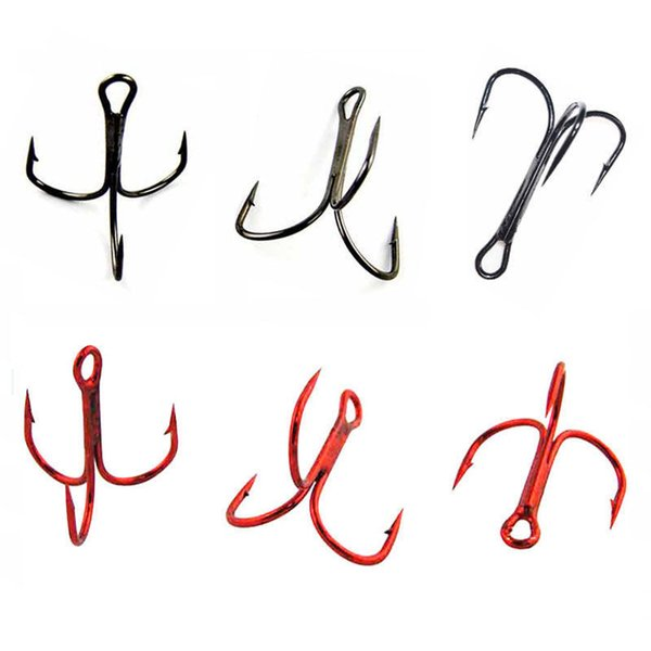 fishing hook 50pcs 35647 High Carbon Steel Treble Fishing Hooks Red Black Round Bent Triple Hard Lure Spoon Fishhooks Size 2 4