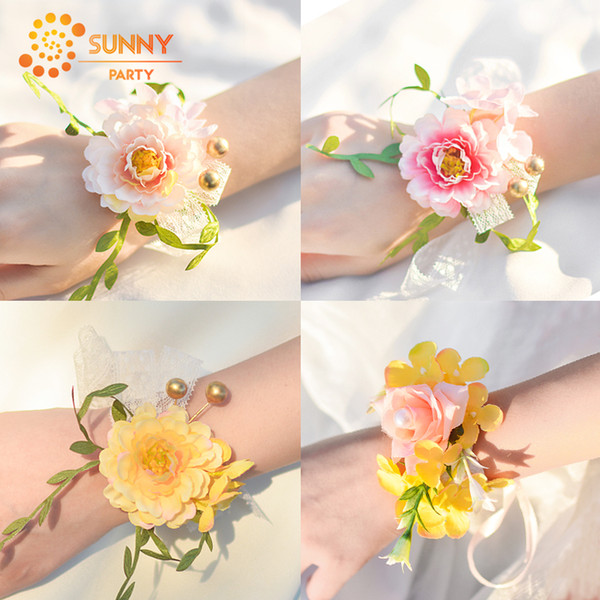 wrist flower bridesmaid sisters hand flowers rattan multilayer artificial flowers bridal wedding party p decoration supplies