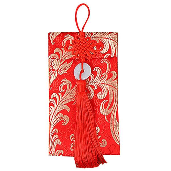 Anéis de jade Chinês Knot Dragão Padrão Phoenix Carteiras de Dinheiro Chinês Envelopes Vermelhos Requintado Casamento
