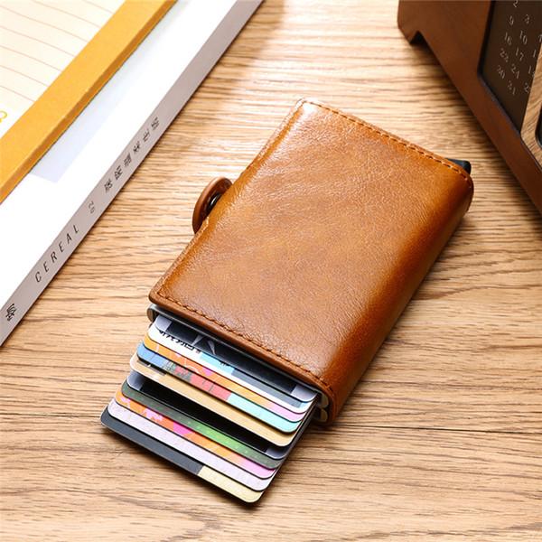 Monedero Bycobecy de calidad superior para los hombres de tarjetas RFID dinero corto Bolsa Mini monedero masculino Caja de aluminio Doble pequeña carpeta de los hombres