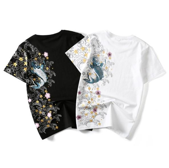 Men's 2019 large size t-shirt Chinese style squid embroidery men tshirt couples cotton shirt mens clothing womens clothes summer tops