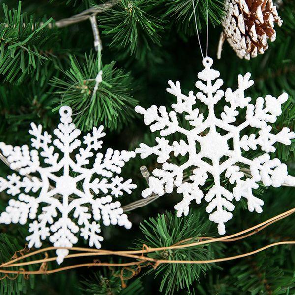 Snowflake Glitter Christmas Ornament White Plastic Christmas Snowflake Tree Frozen Window Decorations For Home