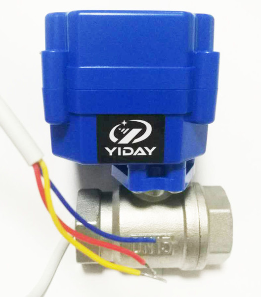 """2 way DN15 Electric Ball Valve- 1/2"""" SS304 Ball Valve with Full Port, AC/DC 9-24V and CR03 3 Wire"""