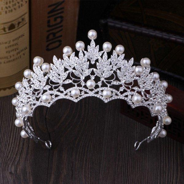 Conjuntos de joyas de montón Novia Crystal Pearl Disfraz Sets New Design Diseño Rhinestone Gargantilla Collar Pendientes Tiara Bridal Women Wedding Jewy ...