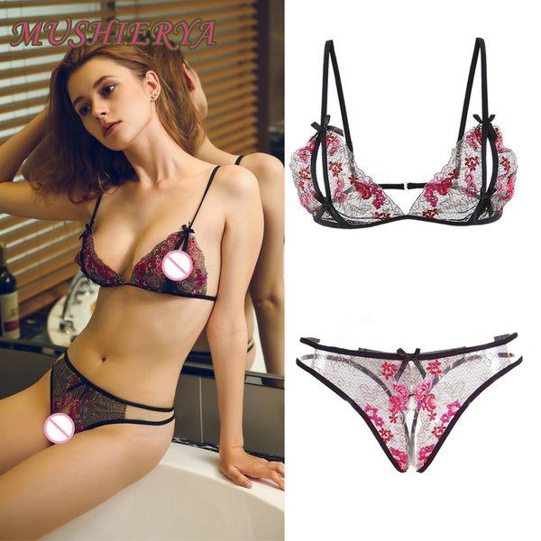 9be4944c041 Mujeres sexy ropa interior de encaje transparente conjuntos Sujetador  abierto y bragas de sexo Conjunto de