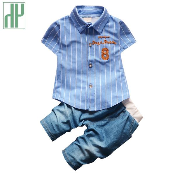 Baby Boy Clothing Cotton Gentleman Suit Fashion Stripe T-shirt + Jeans Two Piece Set Summer Newborn Clothes 1st Birthday