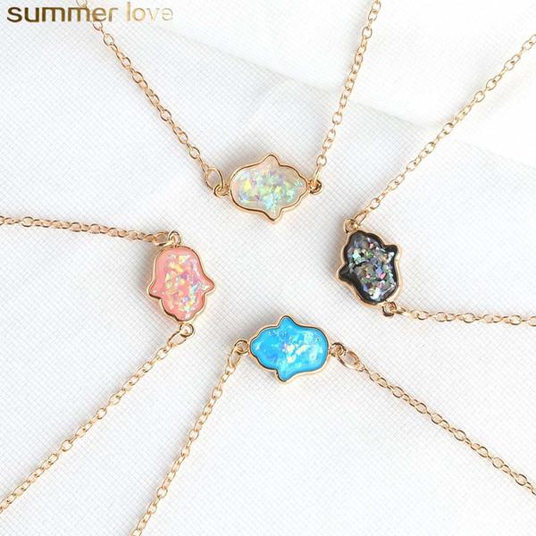 Blue Resin Hamsa Necklace Resin Stone Hand Fatima Pendant Necklaces Gold Chain Choker For Women Fashion Jewelry