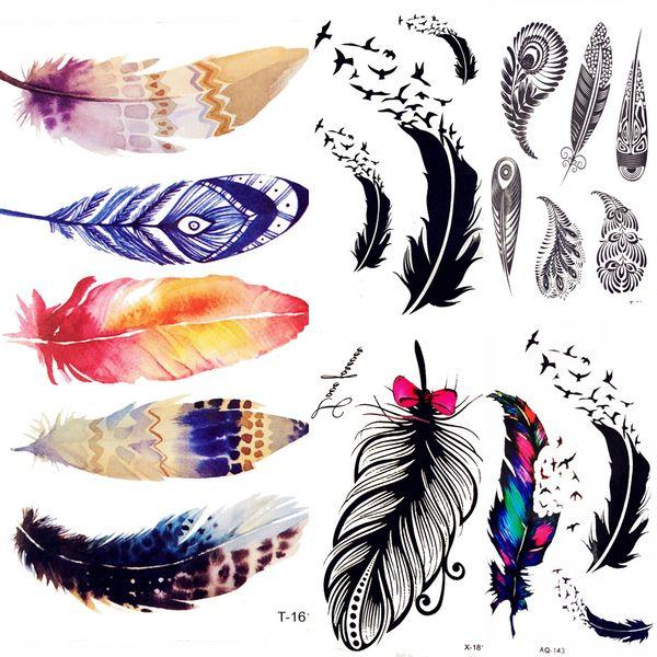 Acheter Style D été Aquarelle Plume Oiseau Tatouage Temporaire Femmes Tribal Henné Faux Tatouage Hommes Corps Bras Art Dessin 3d Tatou Autocollants De