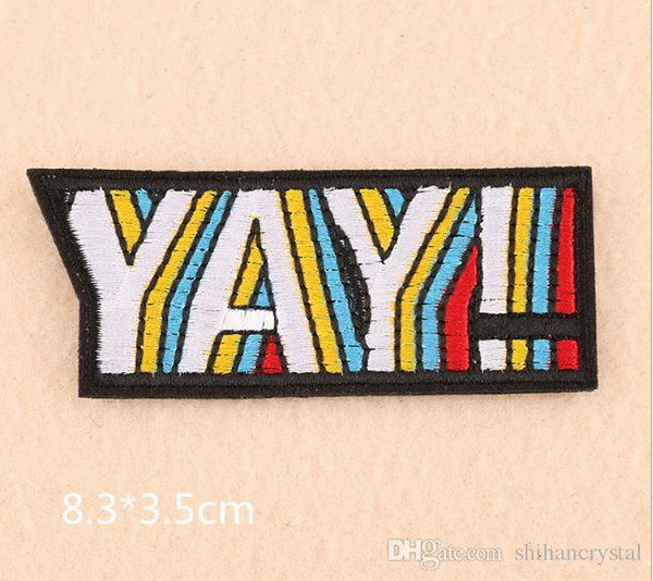 2019 Yay ! Boom embroidered patches for sewing Bag clothing patches iron on  sewing accessories applique 31caa8909bc9