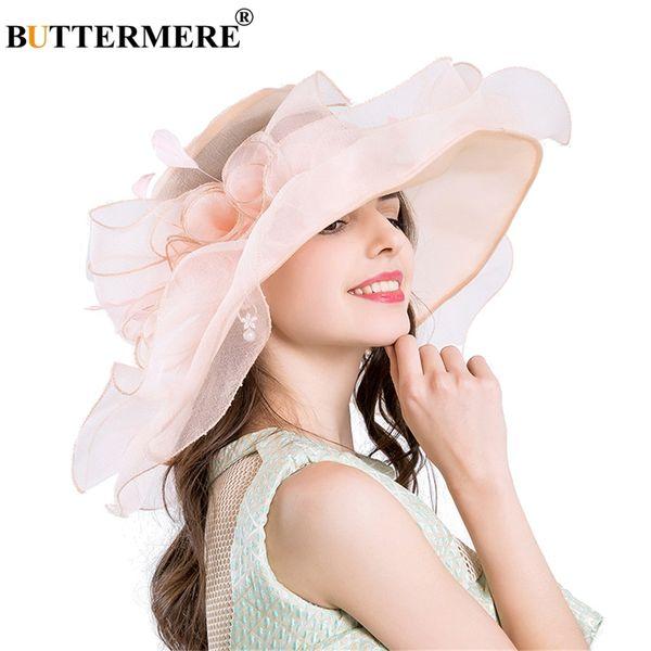 wholesale Pink Sun Hats For Women Organza Kentucky Derby Church Hats Ladies Floral Elegant Gentleman Wedding UV Sun Caps Summer