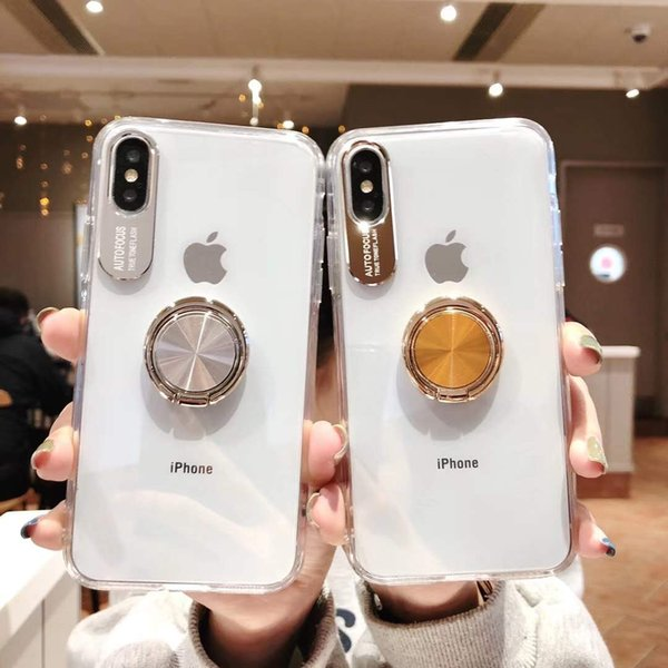 For Iphone xs max xr x 8 7 6 plus phone case invisible ring bracket magnetic suction car mounts transparent air cushion shockproof cover