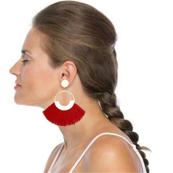 Bohemian Handmade Big Tassel Drop Earrings For Women Female Fringe Dangle Statement Earring Fashion Long Jewelry