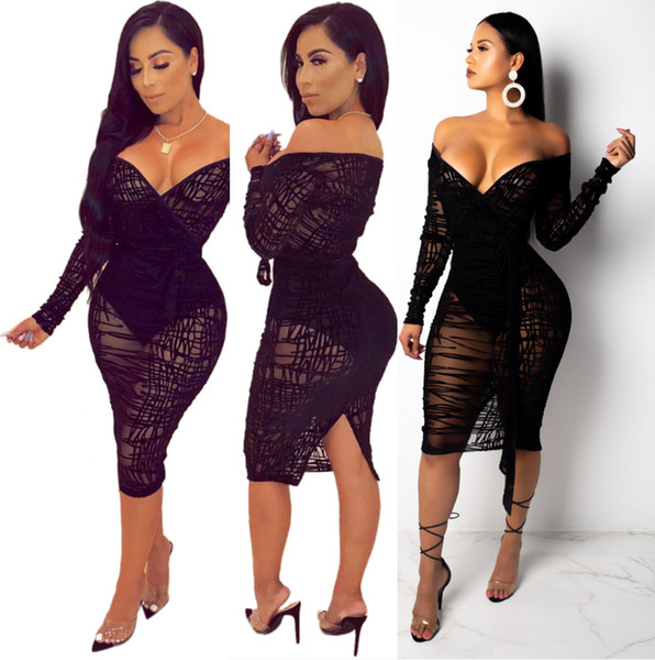 Big Size S-4XL Irregular Stripes Pattern Black Sexy Women Night Out Dresses 2019 New Sexy See Through V Neck Long Sleeve Club Cocktail Dress