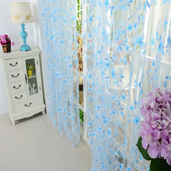 ISHOWTIENDA Curtains Tulle Window Curtain for Living Room Bedroom Kitchen Slot Top Plain Floral for Door Screen Windows#Y40