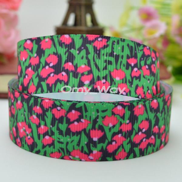 "Lilly Ribbons 7/8"" 22mm Flowers Printed Grosgrain Ribbon Hair Bow DIY Handmade Crafts Ribbon Print 50Yards C-2461"