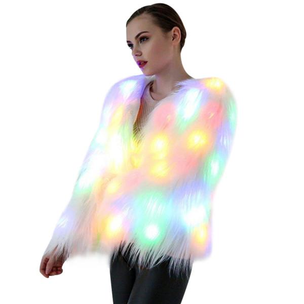 Women Faux Fur LED Light Coat Christmas Costumes Cosplay Jacket Winter Party Club Fur Coats Outwear Plus Size 4XL 5XL 6XL