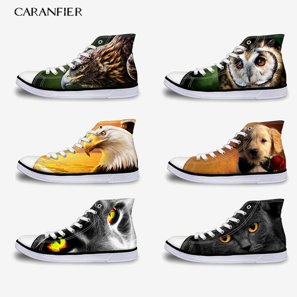CARANFIER Women's New Rubber Flat Canvas Shoes Unisex Printing Patten Animal Comfortable Lace-Up Outdoor Large Size High Shoes