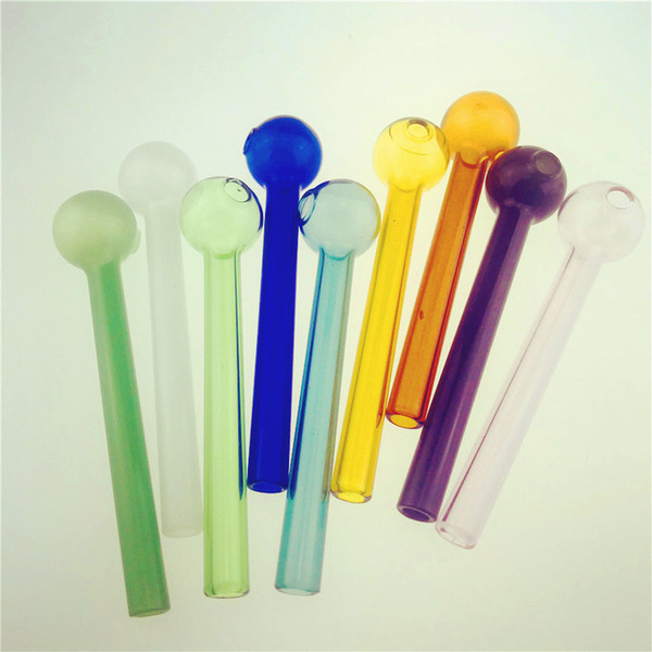 best selling HIGH Quality Colorful Great Pyrex 4''Glass Oil Burner Pipe Thick color Glass dab nail pipes for glass water bong pipe dab oil rig