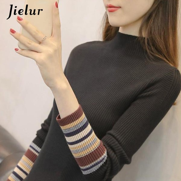 Jielur knitted Sweater Women Skinny All-match pullover Basic bottoming shirt Long Sleeve Femme New Autumn Winter 2019 7 Colors
