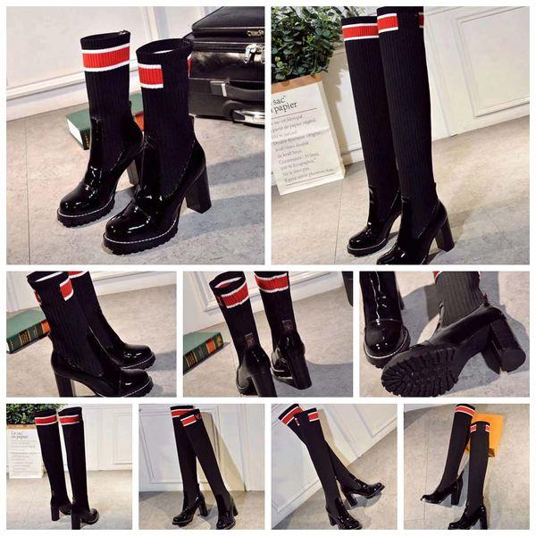 Kadın Yün Çorap Botlar Ayakkabılar Lace up Ribbon kemer tokası ayak bileği / Diz Modası botlar kadın kaba topuk yuvarlak kafa Ab: 35-41 kutu ile Ücretsiz DHL 01