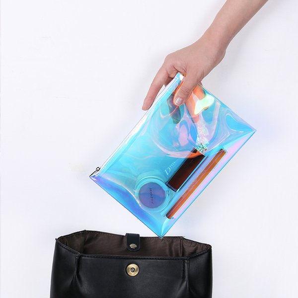 portable fashion clear ladies tpu hologram make up beatuy pouch transparent vinyl women toiletries organizer makeup cosmetic bathroom bag