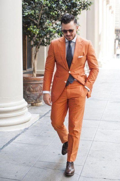 Casual Two Butto Orange Men Suit High Quality Groom Tuxedos Bridegroom Suits Custom Made Blazer For Man (Jacket+Pant+Tie)