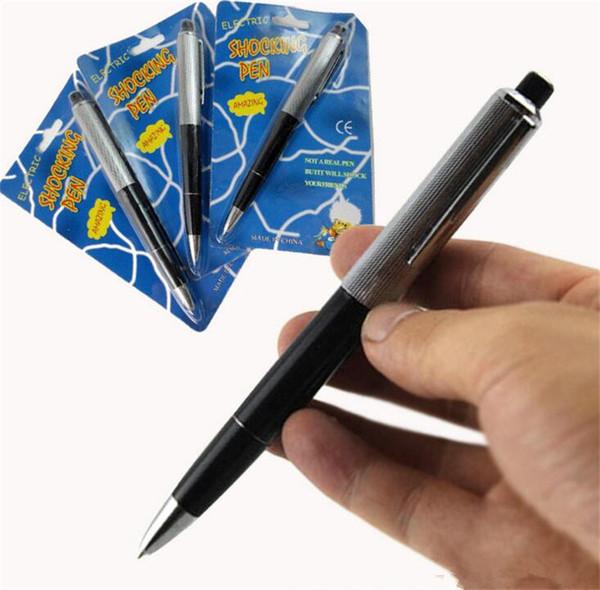 Avril Fools Day Nouveau stylos à bille exotiques Stylo Shocking Choc Électrique Jouet Cadeau Blague Blague Trick Fun jouets B11