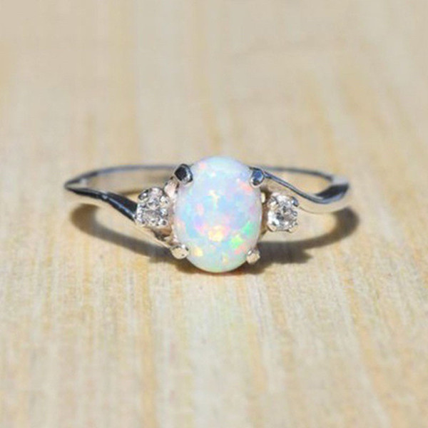 top popular Big Gemstone Opal Ring Fashion Women rings Solitaire Wedding Ring Engagement Rings fashion Jewelry Gift Will and Sandy Drop Shipping 2020