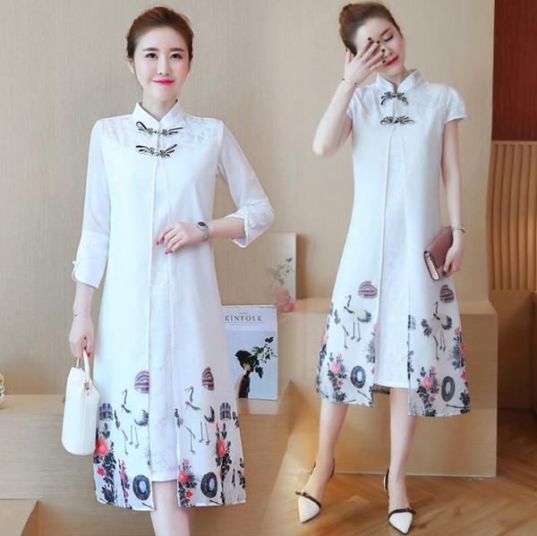 Summer Chinese Traditional Dress Women Fashion Dress Qipao Side Slit Cheongsam Chinese Style Modern Oriental Dresses