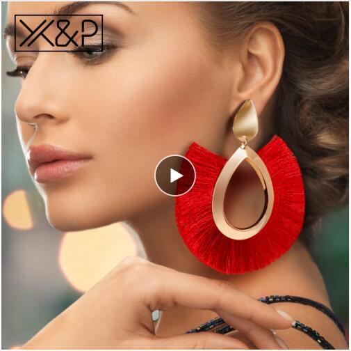 Bohemian Big Tassel Drop Earrings For Women Lady Female Fringe Handmade Brincos Statement Fashion Woman Earring 2019 Jewelry