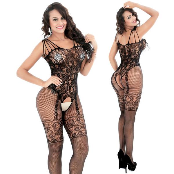 Abra la entrepierna Ropa interior atractiva de las mujeres Ropa interior erótica Productos calientes del sexo Trajes atractivos Ropa interior negra Resbalones Íntimos Vestido Bodysocks