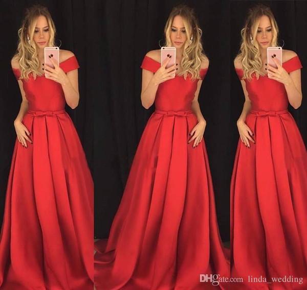 2019 Red Long Evening Dress A Line Off Shoulders