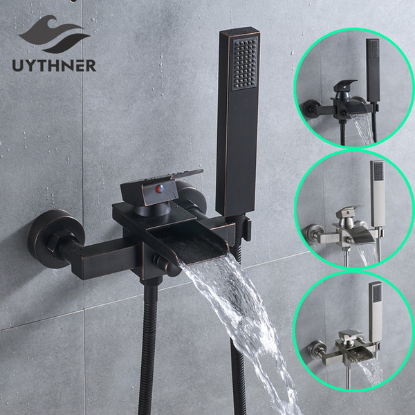 top popular Uythner Bathroom Tub Faucet Single Handle Waterfall Spout Mixer Tap with Hand Shower Wall Mounted Bath Faucet Bathtub 2021