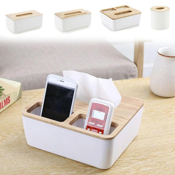 4 Styles Removable Plastic Tissue Box With Oak Wooden Cover Phone Holder Napkins Case Home Organizer Decoration A35
