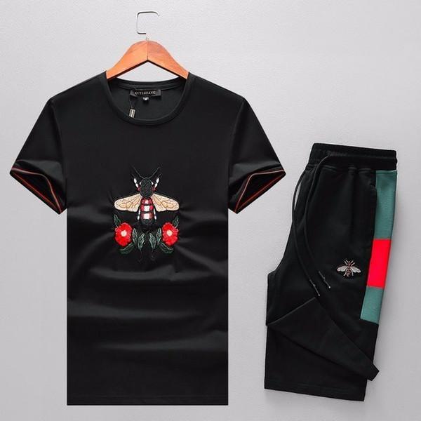 2019 verão homens de algodão mercerizado de manga curta T-shirt moda popular personalidade casual esportes terno high-end dos homens P185