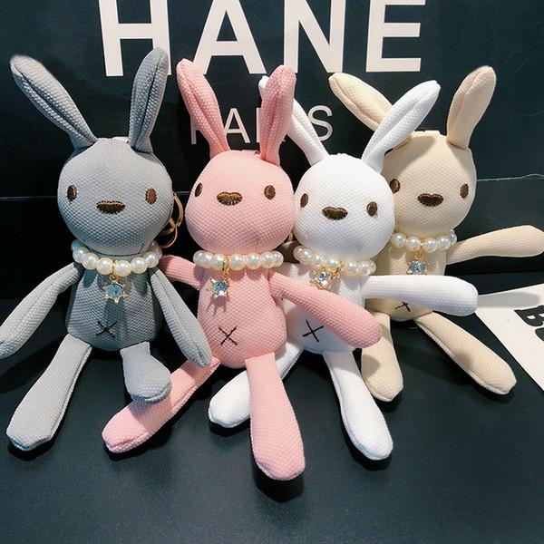 Милый Пушистый Брелок Мини-Кролик Брелок Ткань Брелок для Женщин Сумка Очарование Автомобиля Кулон Брелок