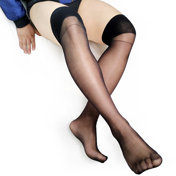 Ulta Thin Sheer Softy Calcetines para hombre Tight High Transparent High Stretch Sexy Gay Stocking Fetish Collection Calcetines Manguera negra