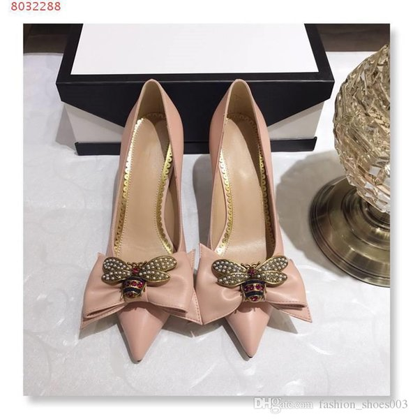 Women shoes Crystal bee decoration High heels Fashion stiletto Shallow mouth Pointed Solid leather Fashion female high heels