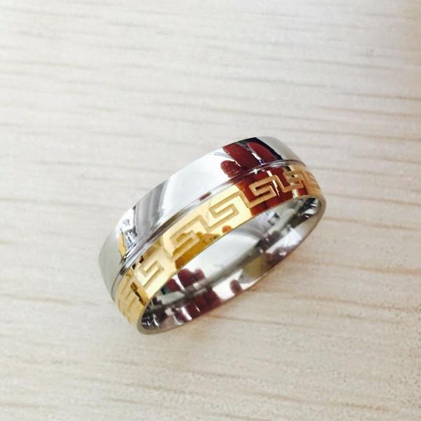 Nfn97 USpecial Livraison gratuite Besteel Mens en acier inoxydable Bague Gravé clé grecque vintage d'argent d'or de mariage 8 mm 18k rempli Taille 6-14